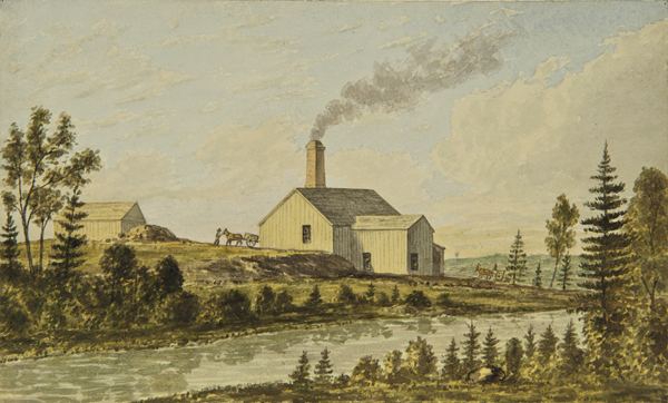 Watercolour of the Excelsior stamp mill in Goldenville with horses and wagons bringing ore to crush.