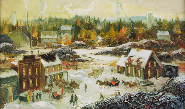 Painting showing town of Goldenville in the 1800s during the winter with mine buildings in the background.