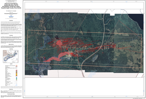 Contemporary satellite map with the historical gold mining areas and tailings noted.
