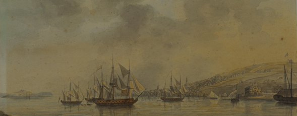 Watercolour, graphite and ink drawing of the Entrance to Halifax Harbour and the Town of Halifax, NS, c. 1780 by Lieutenant-Colonel Edward Hicks.