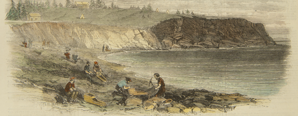 Hand-coloured print of Goldwashing in Lunenburg, 1861.
