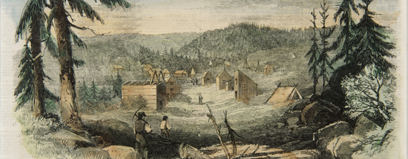 "Coloured engraving showing gold miners walking up between a ""street"" of wooden shaft houses and tents."