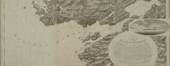 Detail of a map of Halifax Harbour with a topographical inset of several islands.
