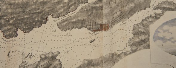Detail of a map of Halifax Harbour showing harbour depth and settlement details.