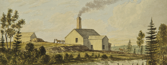 Watercolour painting by Frederick Nichols from the 1860s showing one of the stamp mill buildings at Goldenville.