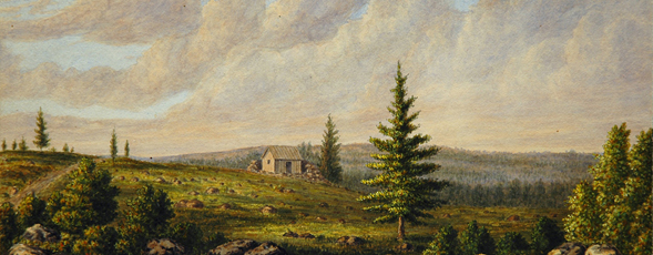 Watercolour landscape showing a wooden building on a cleared ridge.