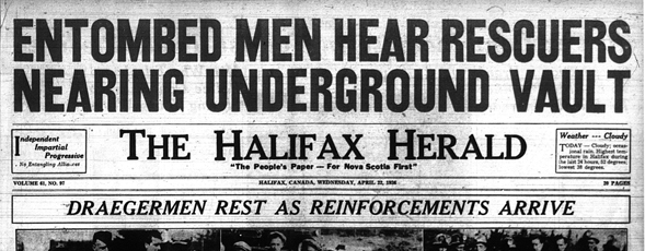 Newspaper headline from The Halifax Herald April 22, 1936, declaring 'Entombed Men Hear Rescuers Near Underground Vault'