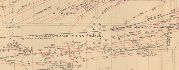 Detail image of Faribault's plan of the Goldenville Gold District.