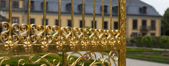 Gilded metal gate for the Herrenhäuser Gärten in Hannover, Germany.