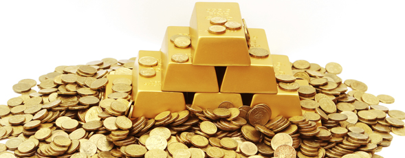 Pile of gold coins and gold bars.