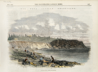 Coloured engraving of men with cradles and picks along the beach at The Ovens, NS.