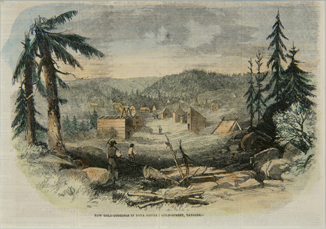 Coloured engraving showing gold miners walking up between a 'street' of wooden shaft houses and tents.