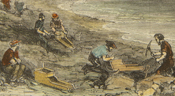 Detail of a hand-coloured print of gold-washing in Lunenburg, 1861.