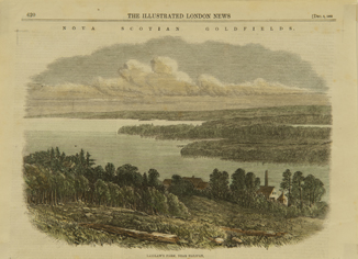 A hand-coloured engraving showing the view of forested hills and lakes from Laidlaw's Farm near Waverley, Nova Scotia.