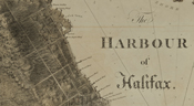 Detail of a map of Halifax and the Halifax Harbour, detailing quays along the waterfront.