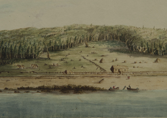 Watercolour landscape showing a cleared section of forest with fencing and buildings along the Annapolis River.