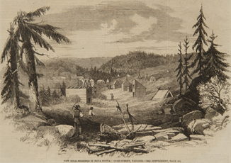 An engraving showing gold miners walking up between a 'street' of wooden shaft houses and tents in Tangier, NS.