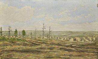 Watercolour landscape showing a series of buildings in the background.