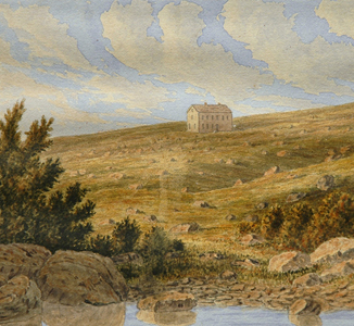 Watercolour landscape showing a lone building on a bare, rocky hill.