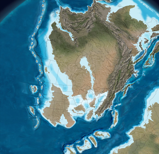 Illustration of the North American continent 385 million years ago. Nova Scotia is not yet visible.
