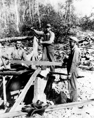 Black and white photo of three Waverley, NS tributers at the top of a mine shaft c.1930s.