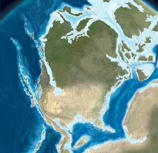 Illustration of the North American continent 150 million years ago. Nova Scotia is partially covered in water.
