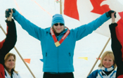 Photograph of Emily Latta on the podium at the 2012 National Winter Games.