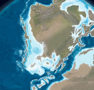 Illustration of the North American continent 345 million years ago. Nova Scotia is mostly underwater.