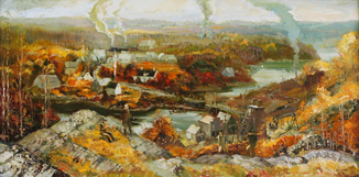 A painting by Joseph Purcell showing Waverly, NS during the heyday of gold mining.