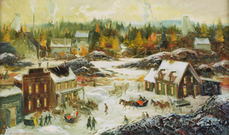 A painting of Goldenville, NS by Joseph Purcell, showing an active winter community scene.