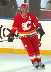 Photograph of Al McInnis on the ice at the 2011 Heritage Classic in Calgary
