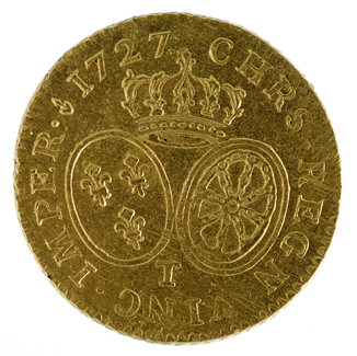 Photograph of French Louis d'Or coin.