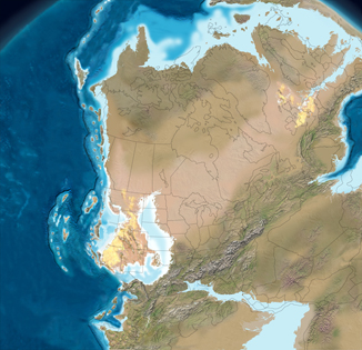 Illustration of the North American continent 290 million years ago. Nova Scotia is part of an enormous supercontinent, Pangaea.