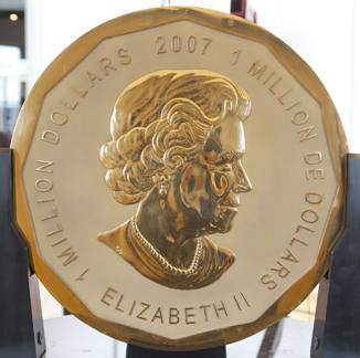 Photograph of the largest Canadian gold coin, which weights 100 kg.