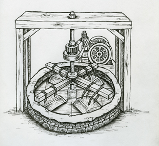 Illustration of an arrastre, a machine that used a giant stone attached to a wooden arm to crush the gold-bearing rock.