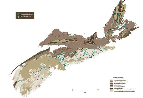 Geological map of Nova Scotia showing where bedrock gold and placer gold deposits can be found around the province.