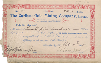 Capital Stock Certificate for 2,500 shares from the Caribou Gold Mining Company.
