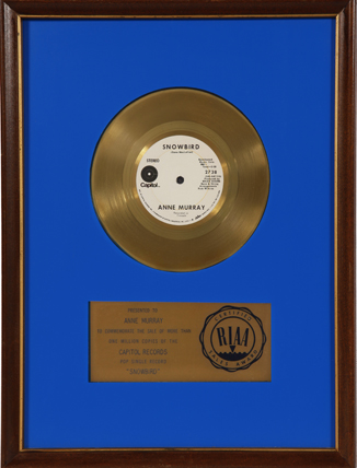 Photograph of Anne Murray's framed 45 Gold Record for the song Snowbird.