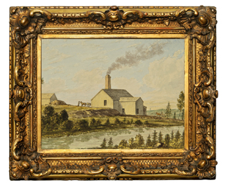 A gilded frame encases a watercolour painting of a stamp mill.