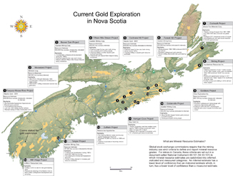 Map of Nova Scotia with identified locations of gold exploration activity.