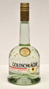 Photograph of a bottle of Goldschlager, a liqueur that contains gold foil.