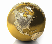 A globe made out of gold showing the raised continent of North America.