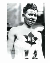 A black and white photograph of marathon man Johnny Miles.