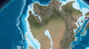 Illustration of what the North American continent looked like 385 million years ago.