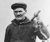 Close-up of a black and white photo showing a tributer miner at the Goldenville Gold District.